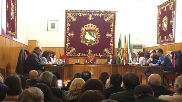 Pleno de Palomares del Río durante la moción de censura.