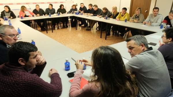 Ejecutivo PSOE Altoaragón en una reunión en Huesca