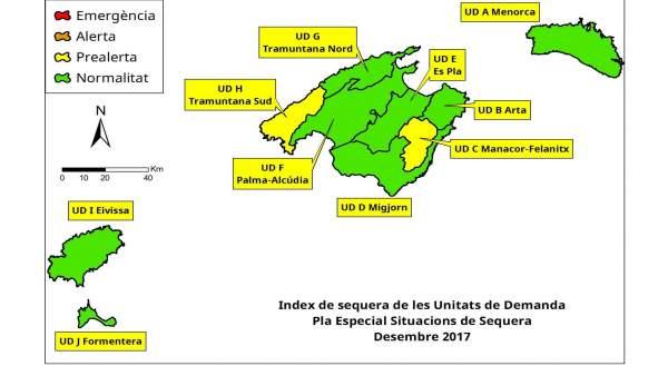 Mapa de índices de sequía de Baleares