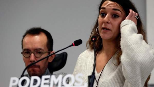 Pablo Echenique y Noelia Vera, secretario de Organización y coportavoz de la dirección, respectivamente.