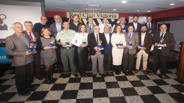 El presidente grancanario, Antonio Morales, junto al resto de premiados