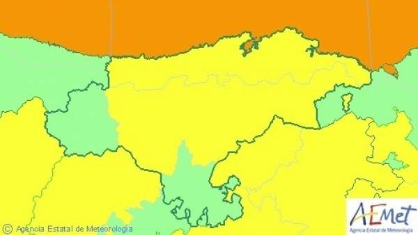 Mapa de avisos este jueves en Cantabria