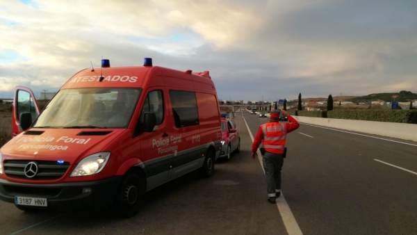 Imagen del accidente de tráfico en Tudela