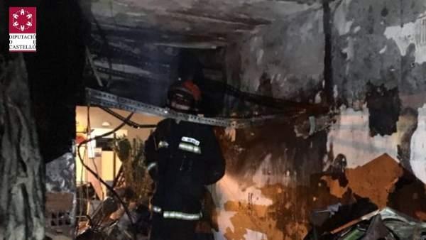 Incendio en un garaje de Vinaròs