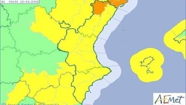 La Comunitat Valenciana està en avís per vent amb ratxes de fins a 100 km/h