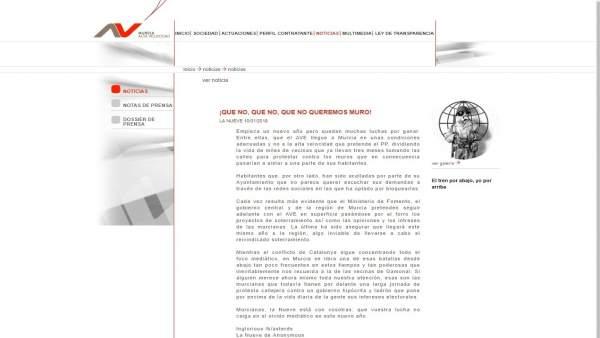 Imagen del mensaje colgado en la página web