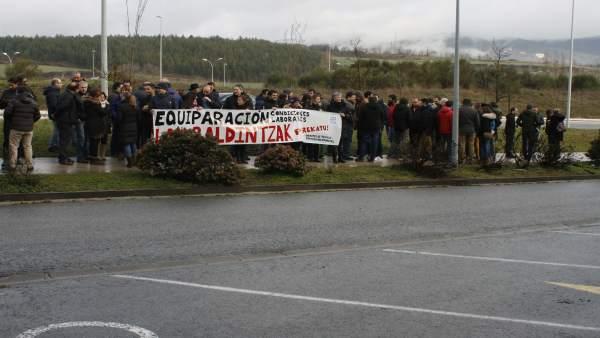 Imagen de la manifestación de los trabajadores de Tracasa