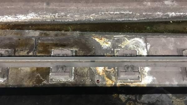 Óxido en vías de Metro