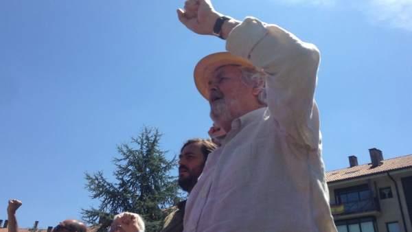 El histórico dirigente nacionalista, Xosé Manuel Beiras, en el acto de Anova