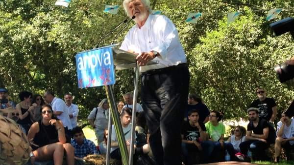 Xosé Manuel Beiras, portavoz nacional de Anova, el Día da Patria de 2016