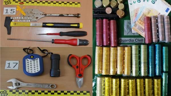 Algunos de los objetos intervenidos en las operaciones
