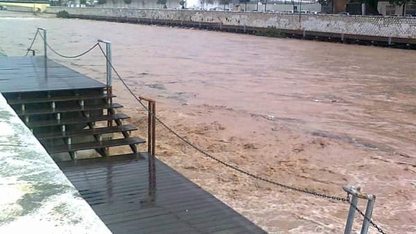 Río Guadalmedina tras la tromba de agua en Málaga capital