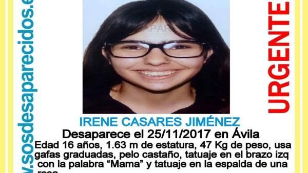 Ávila.- Cartel con la imagen de la joven desaparecida