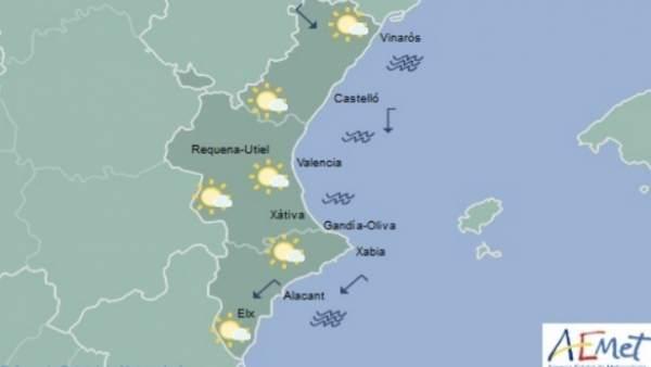 La setmana comença amb el cel poc nuvolós i temperatures amb pocs canvis a la Comunitat Valenciana