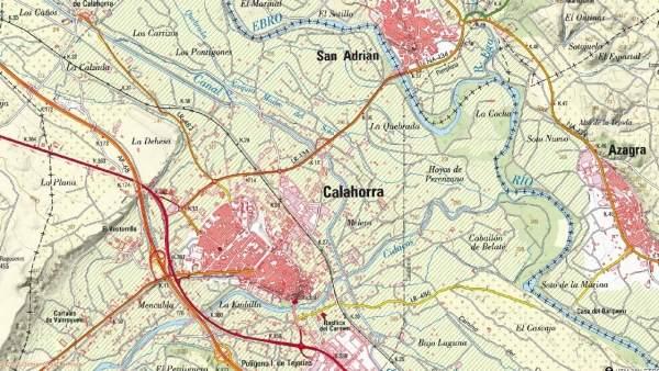 Mapa LR-134 entre Calahorra y Navarra donde se va a actuar