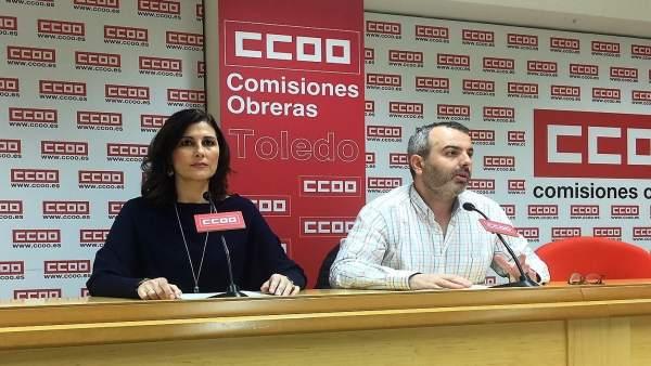 Dirigentes de CCOO en rueda de prensa