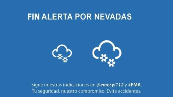 Cuadro informativo del fin de la alerta por nevadas en CyL