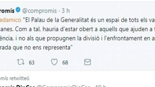 """Micó (Compromís) veu un """"error"""" entregar un premi en la Generalitat a SCC, que """"propugna la divisió"""" a Catalunya"""