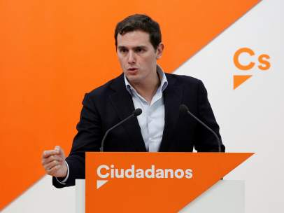 Albert Rivera, presidente de Cs, en la sede de su partido.