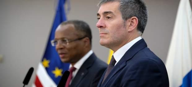 Clavijo durante la rueda de prensa junto al primer ministro de Cabo Verde