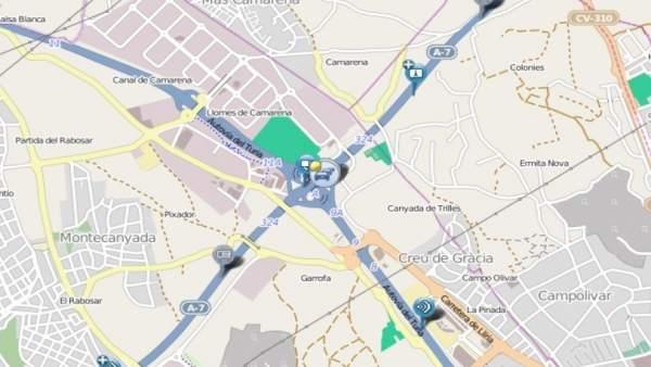 Un accident causa retencions de 10 quilòmetres en l'A7 a Paterna (València)
