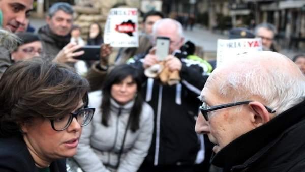 La vicepresidenta del Gobierno, con el portavoz de Soria Ya!