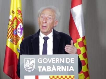 Albert Boadella, president de Tabarnia en el exilio, durante su primer discurso institucional.