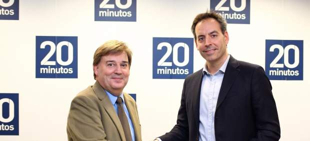 José Manuel Lozano (izda.) director general de 20minutos, e Ignacio Laffitte, CEO de Citiservi