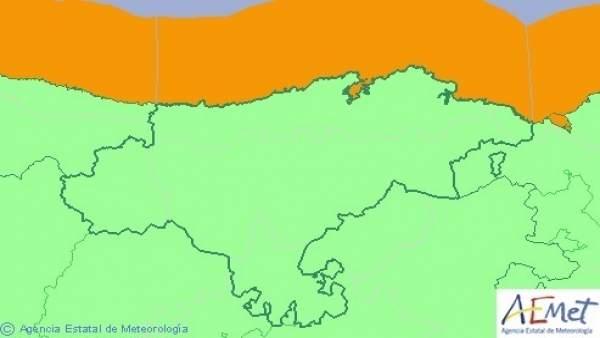 Mapa de avisos para este miércoles en Cantabria