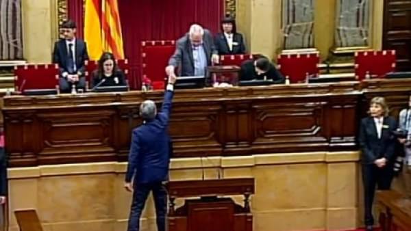 Momento de la votación del presidente del Parlament.