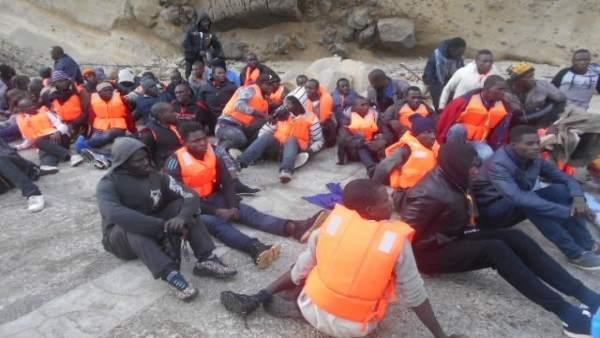 Inmigrantes llegados al puerto de Motril (Granada)