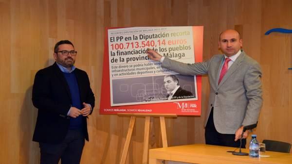 Manuel Chicón y francisco conejo PSOE diputación campaña recorte PP financiación