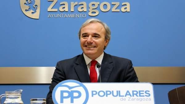 Jorge Azcón (PP), en rueda de prensa este miércoles