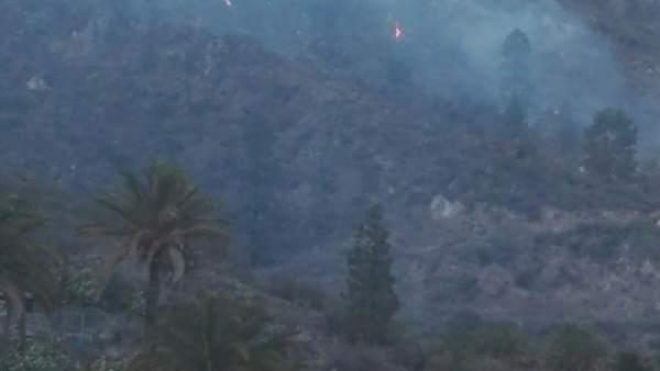 Fuego producido en Piedra Camello, entre las presas de Soria y Las Niñas