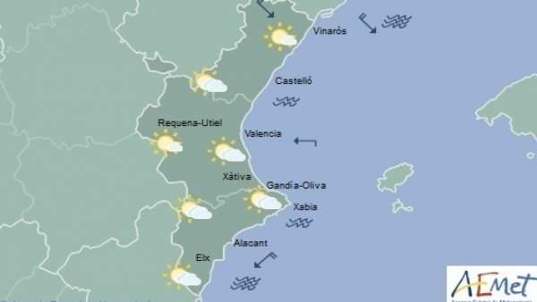 Cels amb intervals nuvolosos i temperatures en descens aquest dijous a la Comunitat Valenciana