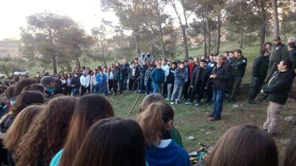 Reforestación en el monte de San Catalina por parte de escolares.