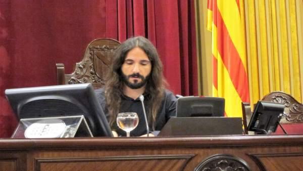 El presidente del Parlament, Baltasar Picornell, durante el pleno del Parlament