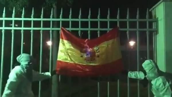 Dos miembros de Arran quemaron una bandera de España en la Diada de Mallorca