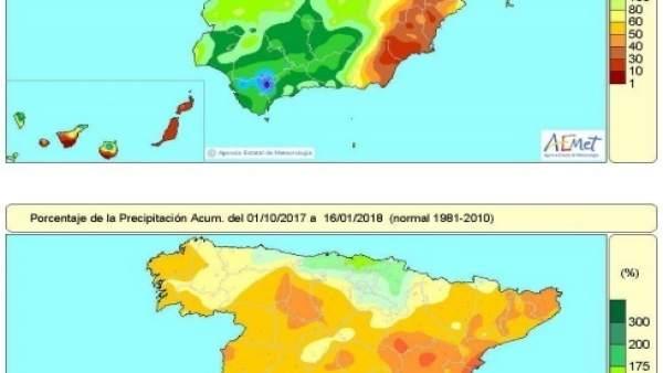Precipitaciones acumuladas en España hasta el 16 de enero