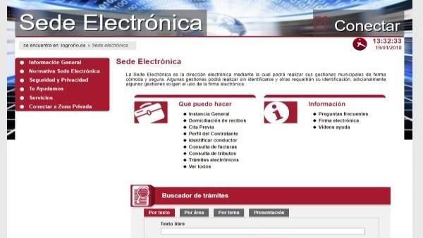 Imagen de la sede electrónica del Ayuntamiento de Logroño