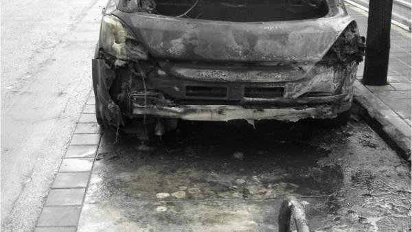 El coche calcinado