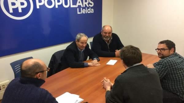 Reunión de dirigentes de Unió de Pagesos de Lleida con José Ignacio Llorens