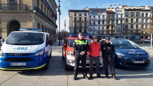 Policía Nacional, Policía Foral y Policía Municipal de Pamplona.