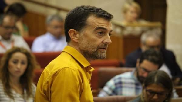 Antonio Maíllo, durante su pregunta en el pleno a Susana Díaz