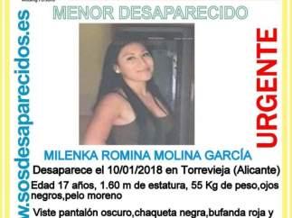 Buscan a una chica de 17 años desaparecida desde el 10 de enero en Torrevieja (Alicante)