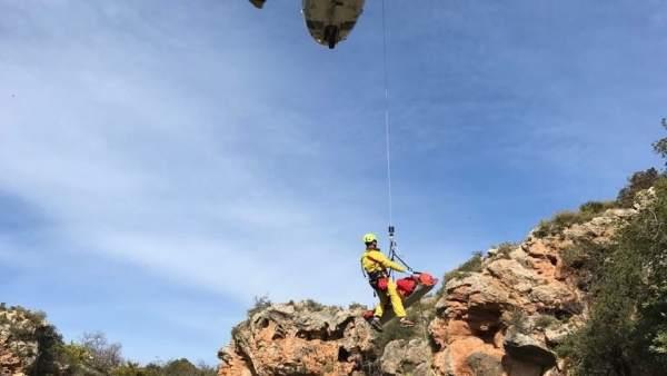 Momento del rescate en el Gorgo Cadena