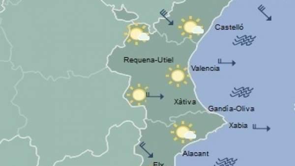 Predicción meteorológica para este domingo en la Comunitat Valenciana