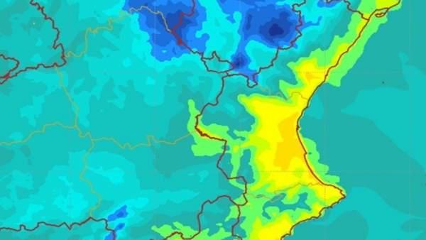Mapa de Aemet con el viento de poniente que se espera en la Comunitat