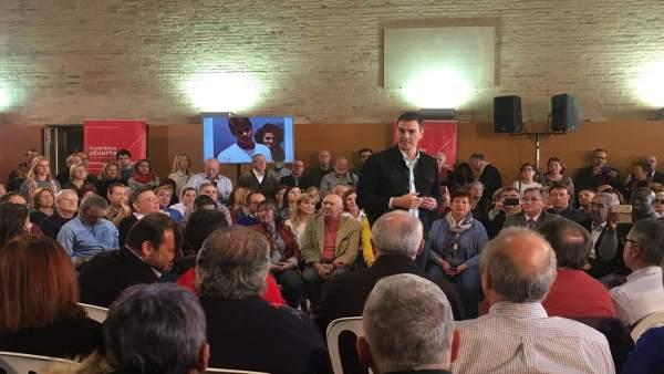 Pedro Sánchez en el acto celebrado este domingo en València