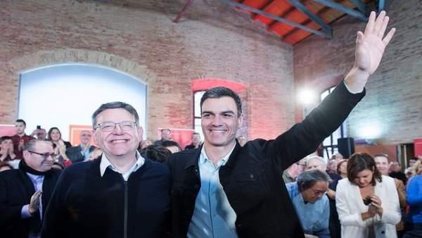 Ximo Puig y Pedro Sánchez en el acto celebrado este domingo en València